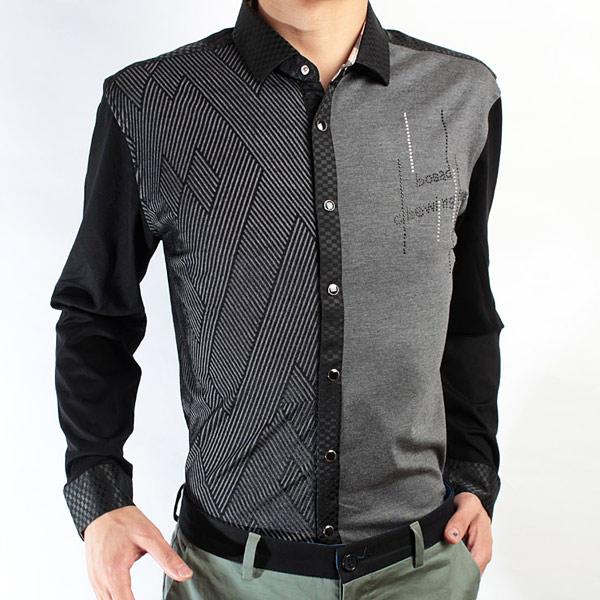 红杉树拼接长袖衬衣灰色系