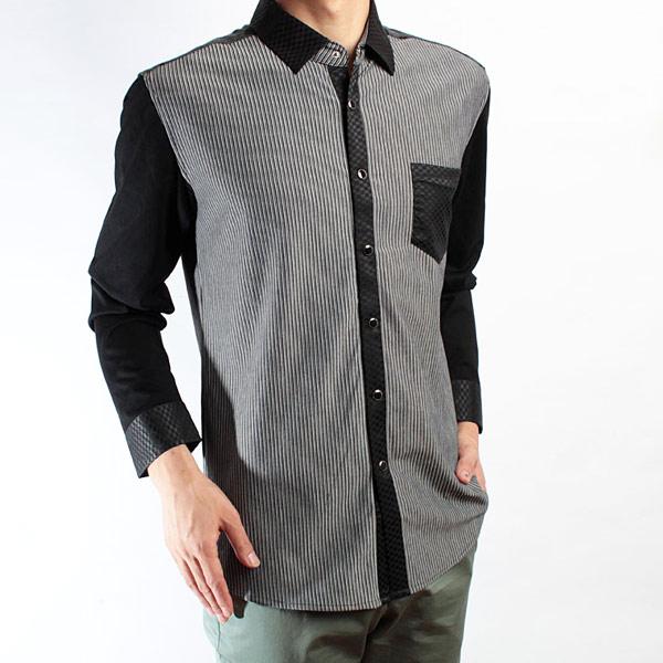 红杉树灰色条纹长袖衬衫