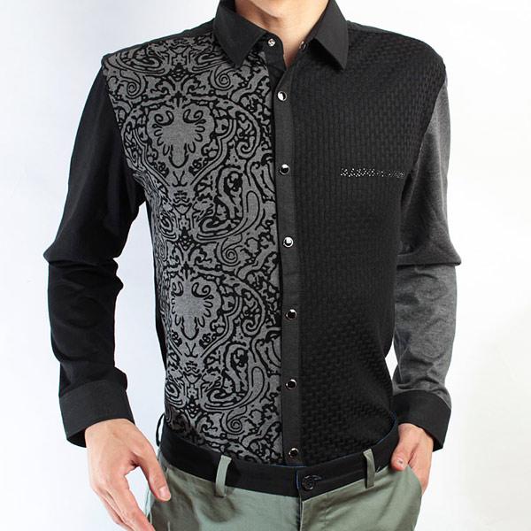 红杉树灰色拼色长袖衬衣