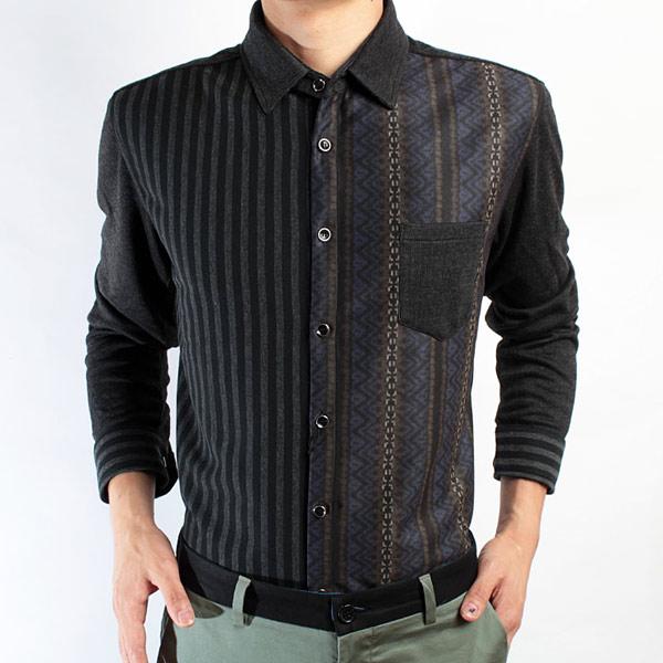 红杉树条纹拼色长袖衬衫