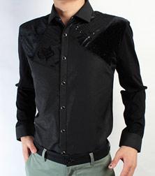 红杉树黑色按扣长袖衬衫