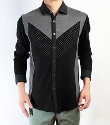 红杉树黑色休闲长袖衬衫显瘦款